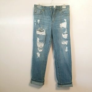 F21 distressed boyfriend skinny jeans